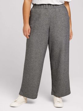 Curvy - wide fabric trousers with an elastic waistband - 1 - My True Me