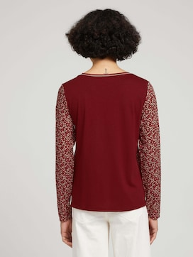 Long-sleeved shirt in a mix of materials - 2 - TOM TAILOR