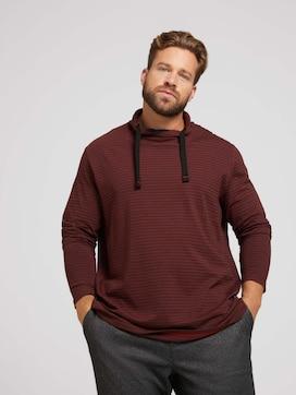 Gestreept shirt met lange mouwen en kraag - 5 - Men Plus