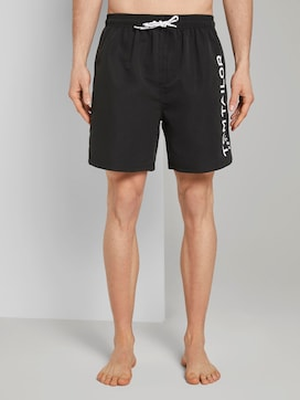 Swimming trunks with a large letter print on the side - 1 - TOM TAILOR