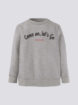 Mottled sweatshirt with a print - 7 - TOM TAILOR
