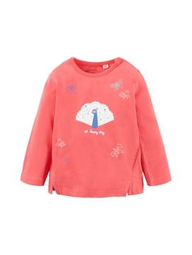 Baby Langarmshirt mit Print, rot, unifarben mit Print