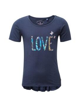 Mädchen T-Shirt mit Artwork, blau, unifarben mit Print