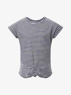Gestreiftes T-Shirt mit Knotendetail - 7 - TOM TAILOR