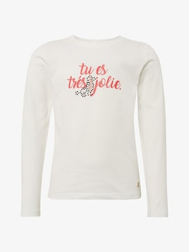 Long-sleeved shirt with writing print - 7 - TOM TAILOR