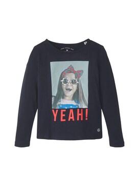 Mädchen Langarmshirt mit Foto-Print, blau