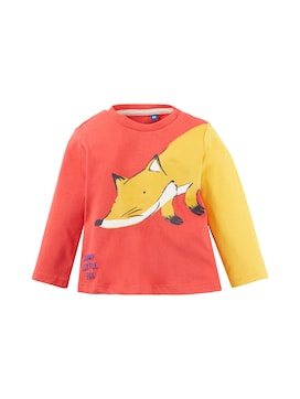 Baby Langarmshirt mit Tier-Print, rot