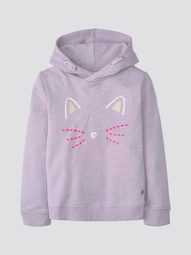 Hoody with sequin print - 7 - TOM TAILOR