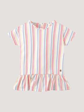 Gestreept T-shirt met ruches - 7 - TOM TAILOR
