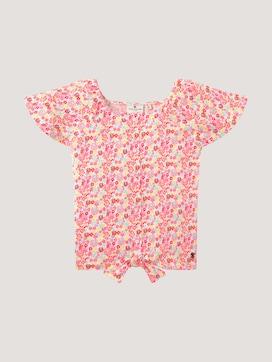 Geblümtes T-Shirt mit Knoten-Detail - 7 - TOM TAILOR