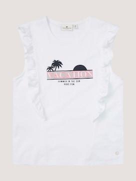 T-Shirt mit Rüschen und Print - 7 - TOM TAILOR