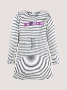 Gestreepte Sweat Jurk met Shimmer Print - 7 - TOM TAILOR