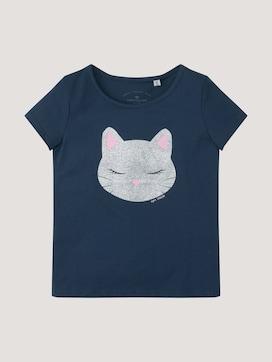 T-Shirt mit Glitzer Motiv - 7 - TOM TAILOR