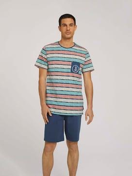 Gestreiftes Pyjama-Set mit Shorts - 1 - TOM TAILOR