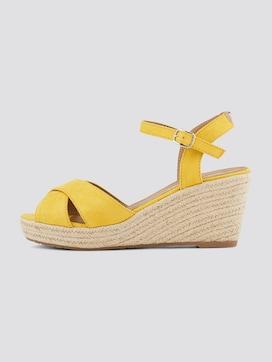 Sandalette mit Keilabsatz aus Wildlederimitat - 7 - TOM TAILOR