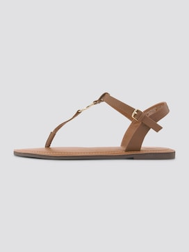 Strappy sandals with a logo coin - 7 - TOM TAILOR