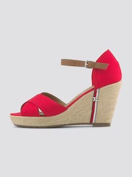 Sandalette mit Keilabsatz und Lederdetails - 7 - TOM TAILOR
