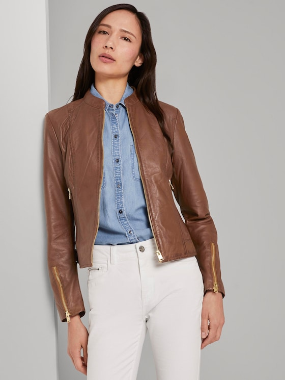 Leather jacket with a stand-up collar - Women - cognac - 5 - TOM TAILOR