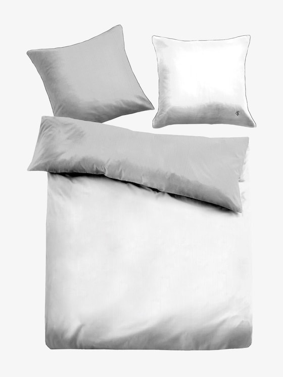 Omkeerbaar beddengoed van satijn - uniseks - white grey - 7 - TOM TAILOR