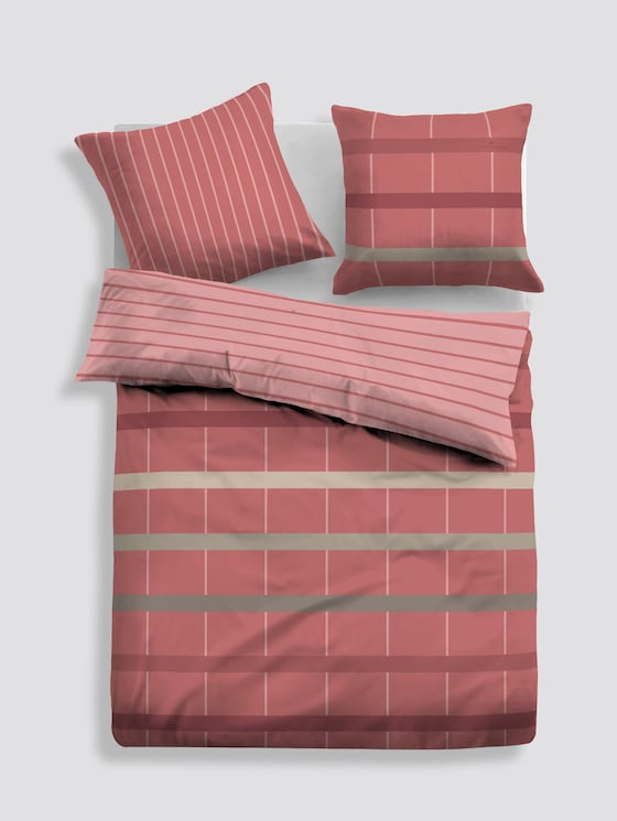 patterned, reversible bed linen - unisex - coral - 1 - TOM TAILOR
