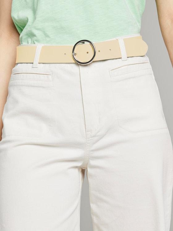 Ledergürtel mit runder Schnalle - Frauen - light yellow - 5 - TOM TAILOR Denim