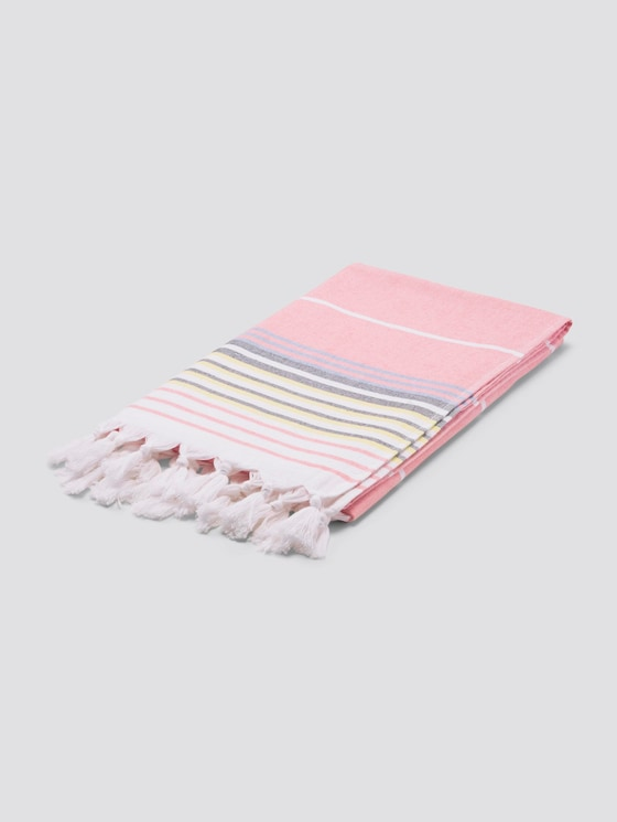 Striped hammam scarf with fringes - unisex - coralle - 7 - TOM TAILOR
