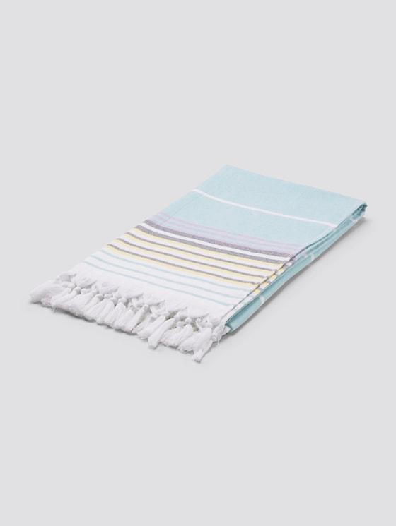 Striped hammam scarf with fringes - unisex - aqua - 7 - TOM TAILOR