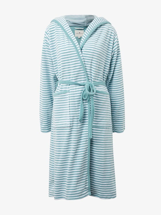 striped, hooded bathrobe - unisex - aqua - 7 - TOM TAILOR