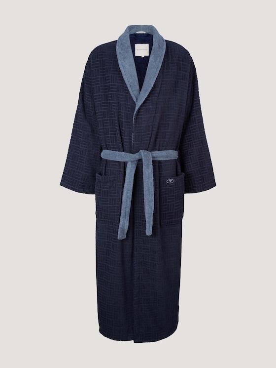 patterned bathrobe - unisex - navy - 7 - TOM TAILOR