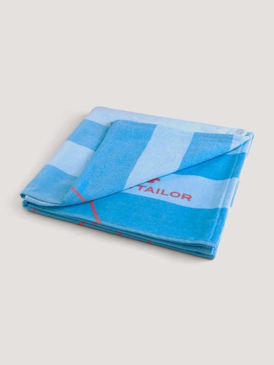 Strandhandtuch gestreift und mit Print - unisex - aqua - 7 - TOM TAILOR