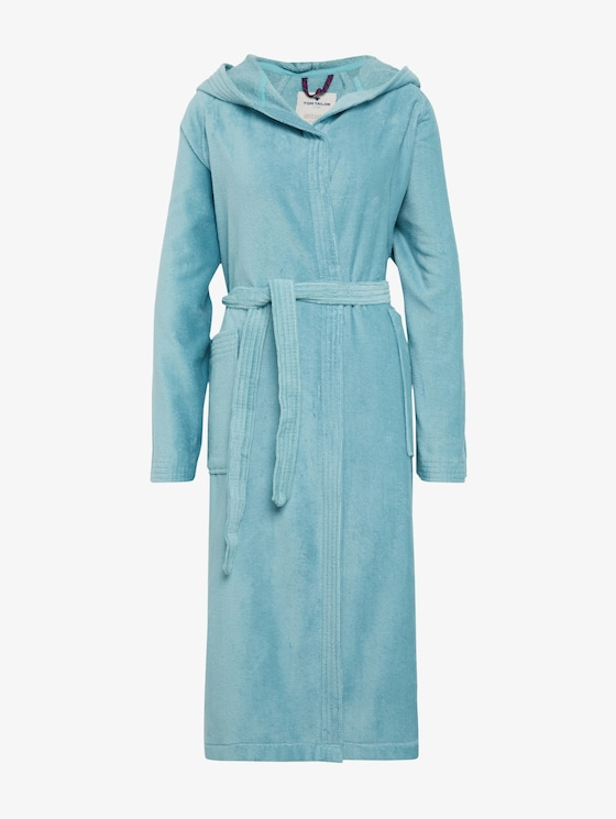 hooded bathrobe - unisex - aqua - 7 - TOM TAILOR