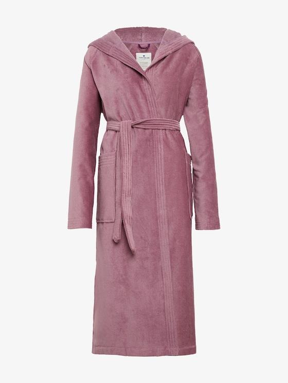 hooded bathrobe - unisex - mauve - 7 - TOM TAILOR