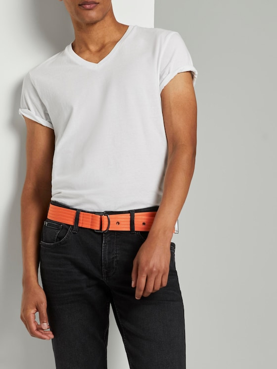 Extra langer Stoffgürtel mit Ösen - Männer - orange - 5 - TOM TAILOR Denim