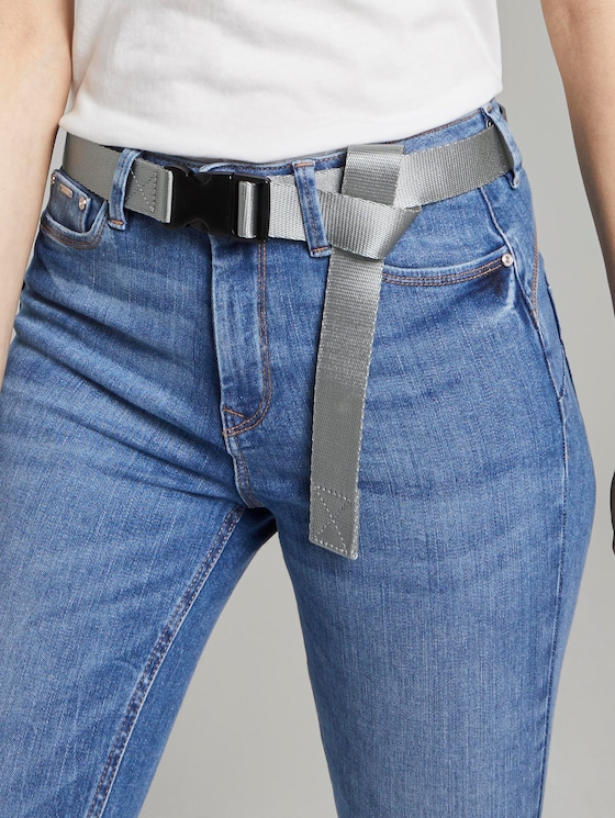 Extra-long fabric belt with a buckle closure - Men - grey - 5 - TOM TAILOR Denim