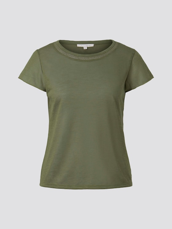 T-Shirt mit Häkelblende - Frauen - Summer Leaf Green - 7 - TOM TAILOR Denim