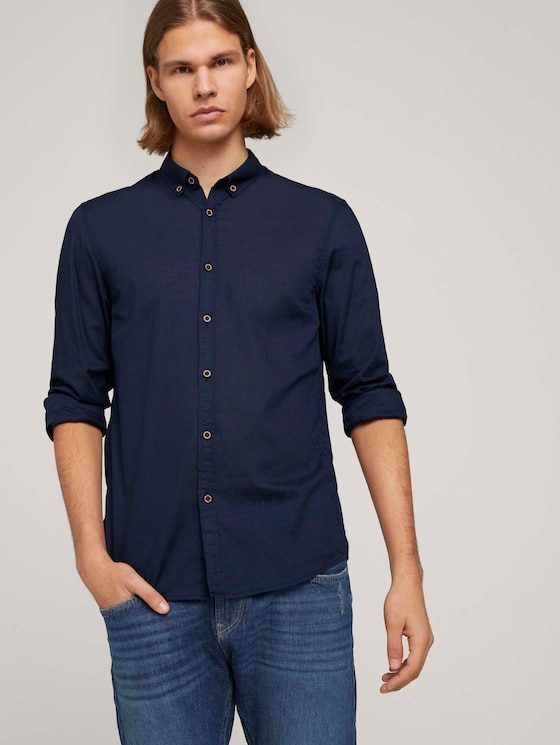 Leichtes Hemd mit Muster - Männer - Black Iris Blue - 5 - TOM TAILOR Denim