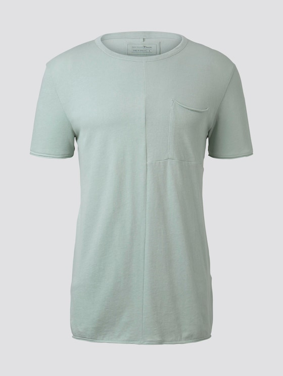 T-Shirt mit Ziernähten - Männer - Soft Greyish Green - 7 - TOM TAILOR Denim
