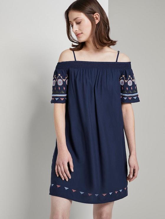 Off-Shoulder Kleid mit Stickerei - Frauen - Deep Twilight Blue - 5 - TOM TAILOR Denim