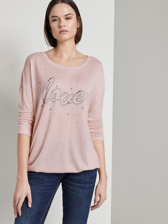 Long sleeve top with bead embroidery - Women - rose smoke melange - 5 - TOM TAILOR