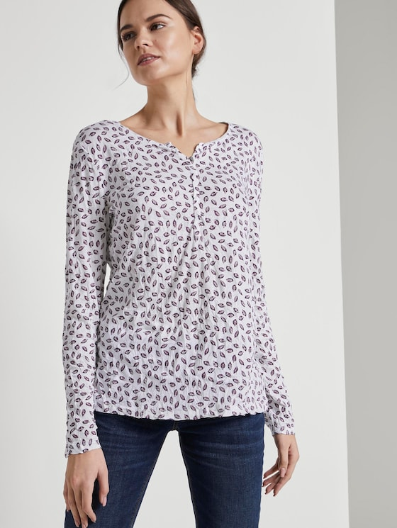 Gemustertes Langarmshirt mit Crinkles - Frauen - Leaves AOP Off-White - 5 - TOM TAILOR