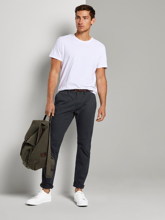 Travis Regular chinos with belt - Men - Outer Space Blue - 3 - TOM TAILOR