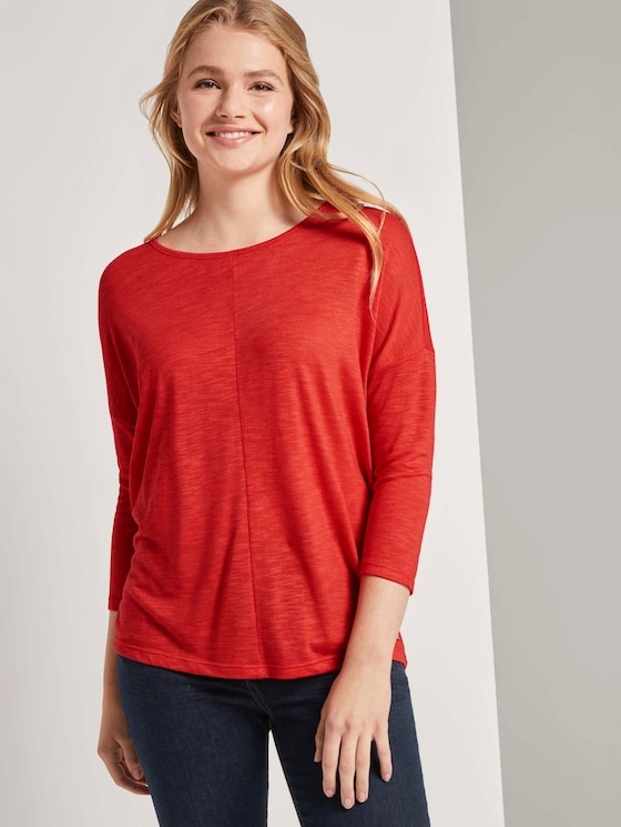 Langarmshirt mit Fledermausärmeln - Frauen - brilliant red - 5 - TOM TAILOR Denim
