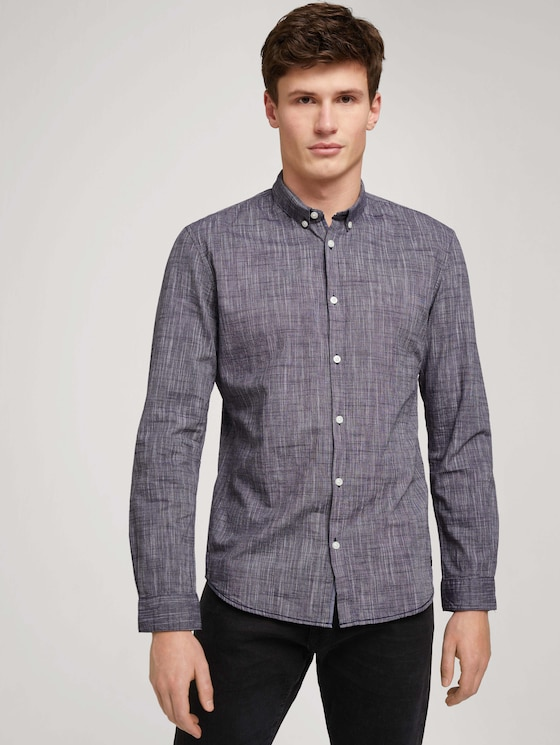 Overhemd met subtiel patroon - Mannen - Black Iris Blue - 5 - TOM TAILOR Denim