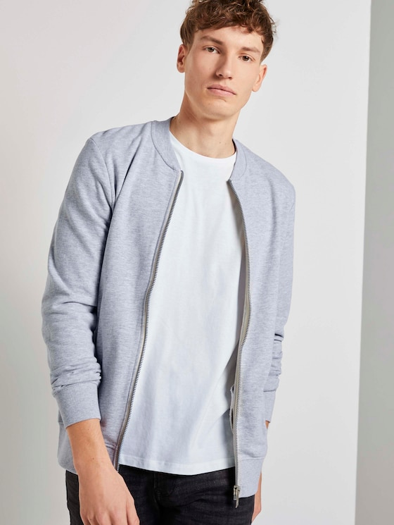 Sleek sweatshirt - Men - Light Stone Grey Melange - 5 - TOM TAILOR Denim