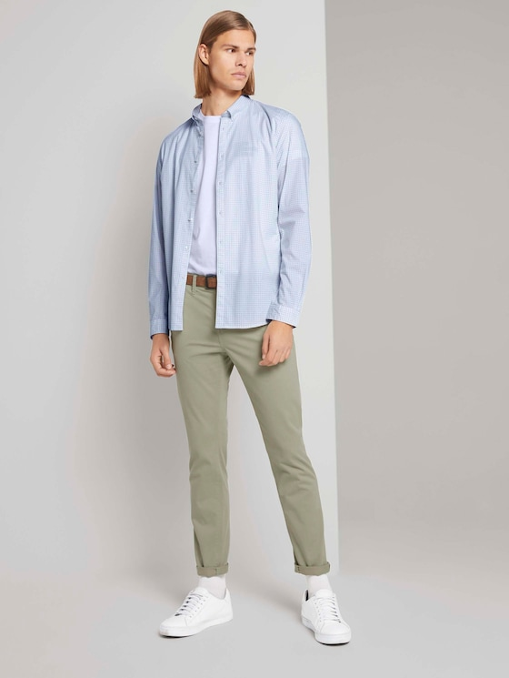 Chino trousers with belt - Men - Greyish Shadow Olive - 3 - TOM TAILOR Denim