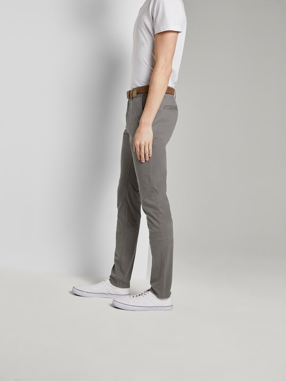 Chino trousers with belt - Men - Castlerock Grey - 3 - TOM TAILOR Denim