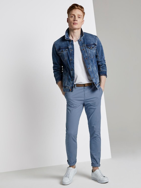 Chino trousers with belt - Men - English Country - 3 - TOM TAILOR Denim