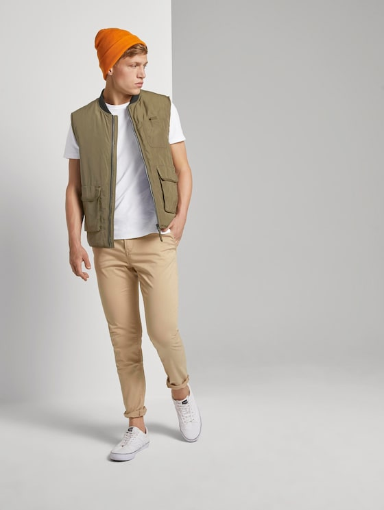 Chino trousers with belt - Men - Smoked Beige - 3 - TOM TAILOR Denim