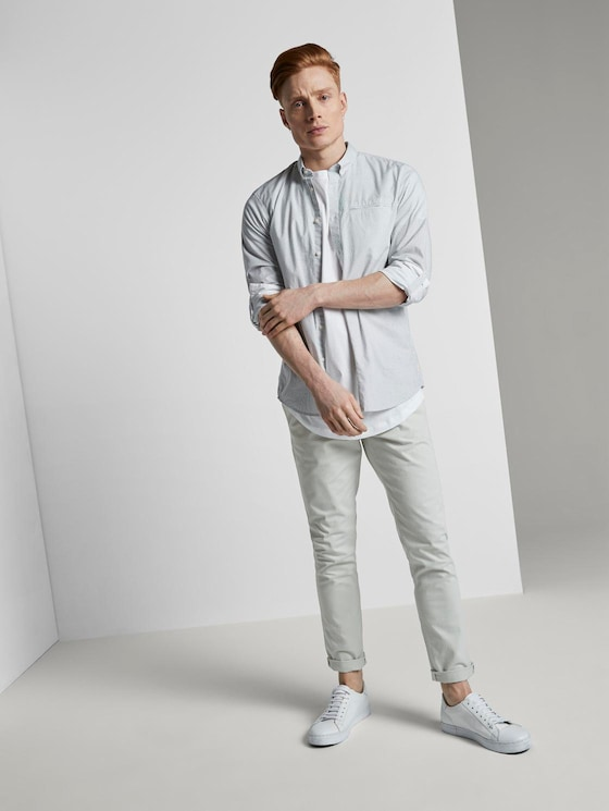 Chino trousers with belt - Men - breeze of mint - 3 - TOM TAILOR Denim