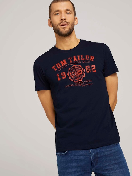 T-Shirt mit Logo-Print - Männer - Dark Blue - 5 - TOM TAILOR
